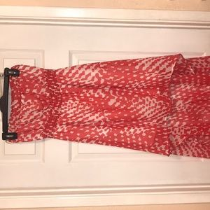 White/Orange high low strapless dress